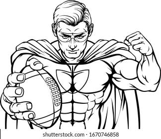 A superhero American football sports mascot holding a ball