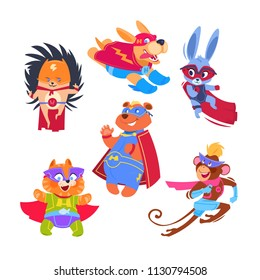 Superhero animal kids. Funny animals wearing superheroes costumes. Cosplay vector characters set. Illustration of protector and savior, hedgehog rabbit and monkey