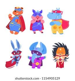Superhero animals. Baby superheroes vector characters set. Illustration of animal protector and savior, hedgehog elephant and bear