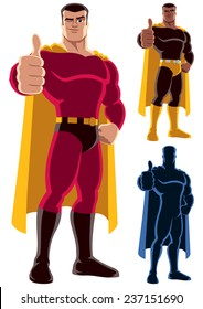Superhero Approving: Superhero giving thumbs up. On the right are 2 additional versions, including silhouette. No transparency and gradients used.