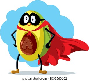 Superhero Avocado Super Food Vector Cartoon. Funny avocado character wearing cape and mask as nutritious super powerful element
