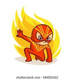 Superhero Baby Boy Fire Sticker Vector Illustration