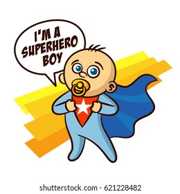 Superhero Baby Boy Sticker Vector Illustration