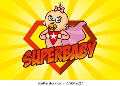 Superhero Baby Girl Vector Illustration