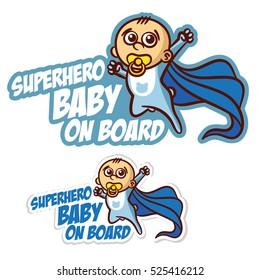 Superhero baby on Board Sticker Set Vector Illustration
