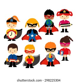 Superhero back to school. Cute vector.