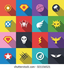 superhero badge logo, vector flat design