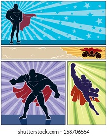 Superhero Banners: Set of 4 superhero banners. No transparency and gradients used.