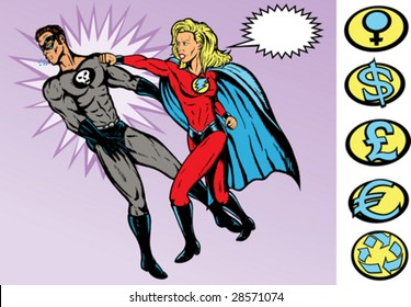 Superhero battle. Both are fully drawn on separate layers, and can be moved. Hero and Villains Crest can be removed.