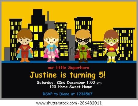 Superhero Birthday Invitation Stock Vector Royalty Free 286482011