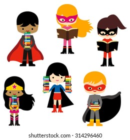 Superhero and books. Cute vector.