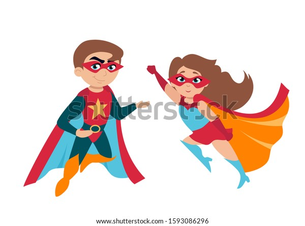 Superhero Boy Girl Cute Costumes Masks Stock Vector Royalty Free 1593086296