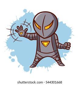 Superhero Boy Iron Sticker Vector Illustration