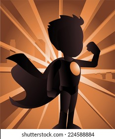 Superhero boy showing his strength, can be used separately from its background. With standing superhero wearing his read hero costume, with city image behind him vector illustration back light, shadow