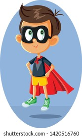 Superhero Boy Vector Illustration Cartoon. Little kid with superpowers flying with magic cape