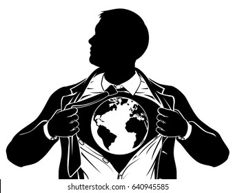 A superhero business man tearing his shirt showing the chest of his costume underneath with a world earth globe.