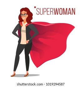 Superhero Business People Vector. Successful Superhero Business Woman And Man In Action. Young Professional Manager. Office Achievement Victory Concept. Waving Red Cape. Isolated Cartoon Illustration