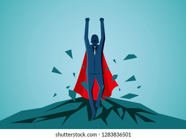 Superhero businessman fling out of the floor and flying up into the sky. leadership. startup. creative idea. illustration cartoon vector