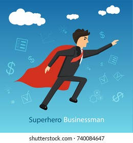 superhero businessman with red cloack flying forward reaching his goals. Vector illustration