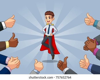 Superhero businessman in shirt with many thumbs up hands around him, against blue background.