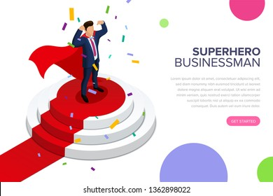 Superhero businessman standing on a pedestal. The best employee of the month. Top manager or boss. The process of awarding. Editable vector isometric illustration