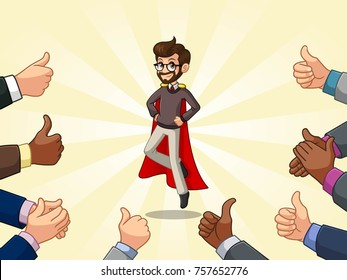 Superhero businessman in vest with many thumbs up hands around him, against blue background.
