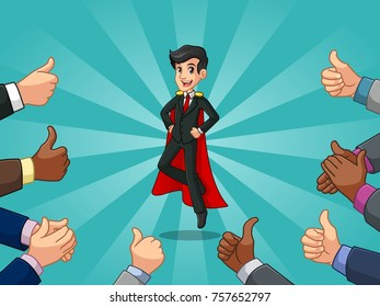 Superhero businessman in vest with many thumbs up hands around him, against tosca background.
