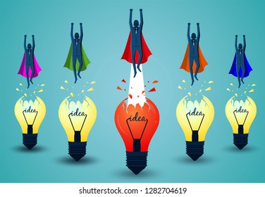 Superhero businessmen fling out of the light bulb red and yellow are flying up into the sky. business finance success. leadership. startup. creative idea. illustration cartoon vector