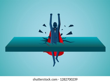 Superhero businessmen fling out of the wall are flying up into the sky. business finance success. leadership. startup. creative idea. illustration cartoon vector