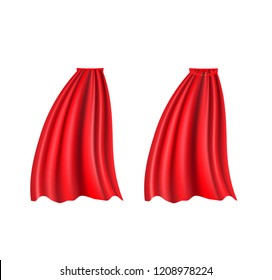 Superhero cape vector. Red silk cloak fluttering in the wind
