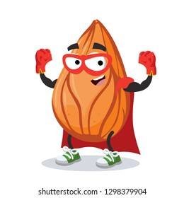 Superhero cartoon almond nut character mascot in sneakers on a white background