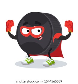 superhero cartoon black rubber hockey puck character mascot in sneakers on a white background