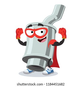 Superhero cartoon car exhaust pipe with silencer character mascot on a white background