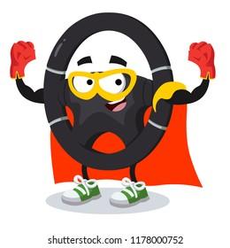 Superhero cartoon car steering wheel character mascot on a white background