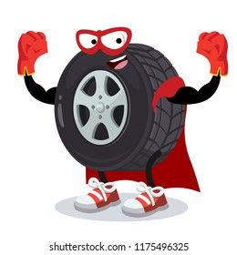 Superhero cartoon car wheel character mascot in sneakers on a white background