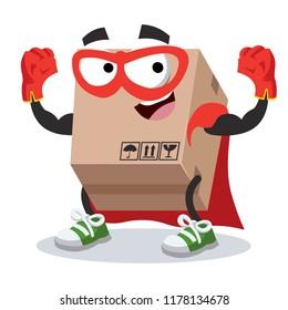 Superhero cartoon cardboard box character mascot in sneakers on a white background