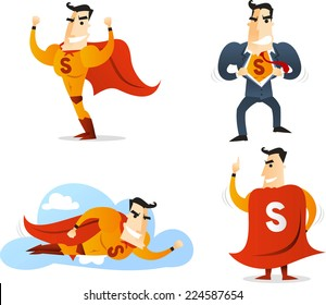 Superhero Cartoon Character in four different poses and situations action set 1