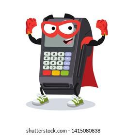 Superhero cartoon EDC card swipe machine character mascot in sneakers on a white background