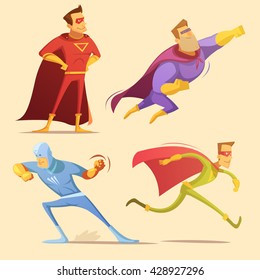 Superhero cartoon icons set with superman on yellow background isolated vector illustration
