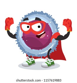 Superhero cartoon lymphocyte cell character mascot in sneakers on a white background