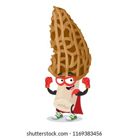 Superhero cartoon morel mushroom character mascot in sneakers on a white background