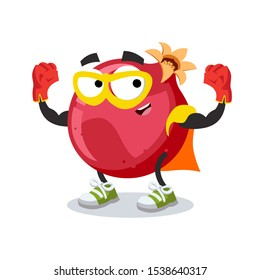 superhero cartoon whole fresh pomegranate fruit character mascot in sneakers on a white background