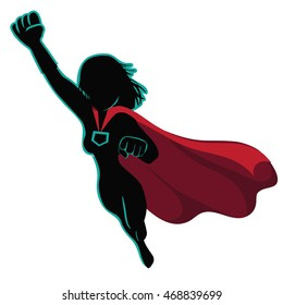 Superhero cartoon woman heroically flying. EPS 10 vector.
