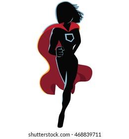 Superhero cartoon woman heroically running. EPS 10 vector.