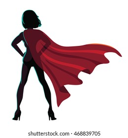 Superhero cartoon woman heroically standing. EPS 10 vector.