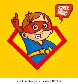Superhero character boy logo, pop art background Vector
