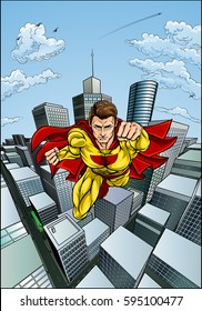 Superhero character with a cape in a cartoon pop art comic book style flying over a city