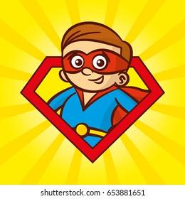 Superhero character man logo, pop art background Vector
