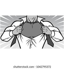 Superhero Chest Illustration - A vector cartoon illustration of a Superhero ripping shirt off concept.