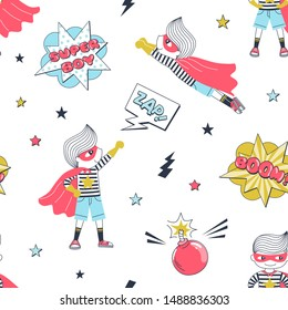 Superhero children cartoon vector seamless pattern. Comic book action texture. Kids in hero costumes, fight bubbles and bombs decorative background. Childish wallpaper, wrapping paper design